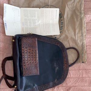Brahmin leather backpack and wallet set